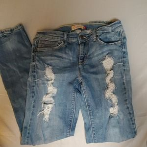 Light wash, skinny rip jeans, size 11